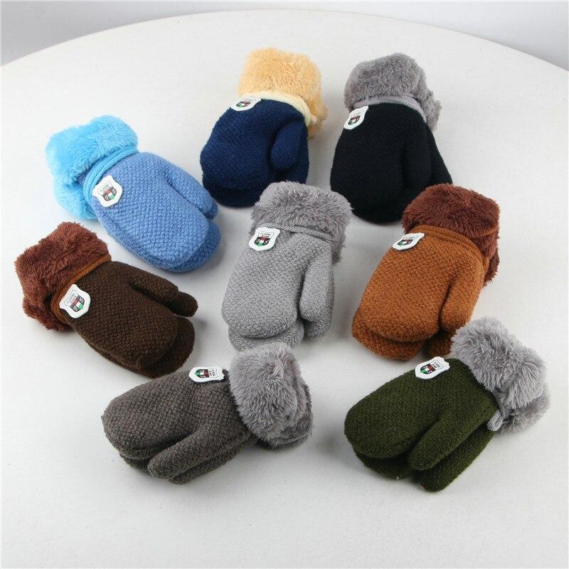 Winter Children Baby Kids Double Thickening Full Finger Knit Mitten Warm Gloves