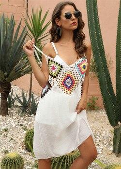 Женское пляжное платье-туника, белое короткое пляжное платье-накидка, летнее трикотажное платье, 5 цветов