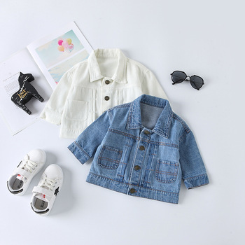 Baby Jeans Coat Men And Women Small CHILDREN #8217 S Korean-style Infant Children #8217 s Clothing Cowboy Clothing 2019 Autumn Clothing New tanie i dobre opinie Others Cartoon Solid Color Zhejiang 195628