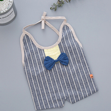 Saliva Towel Baby-Supplies Lace-Up Bibs Cotton Waterproof Gentleman Japanese-Style Striped
