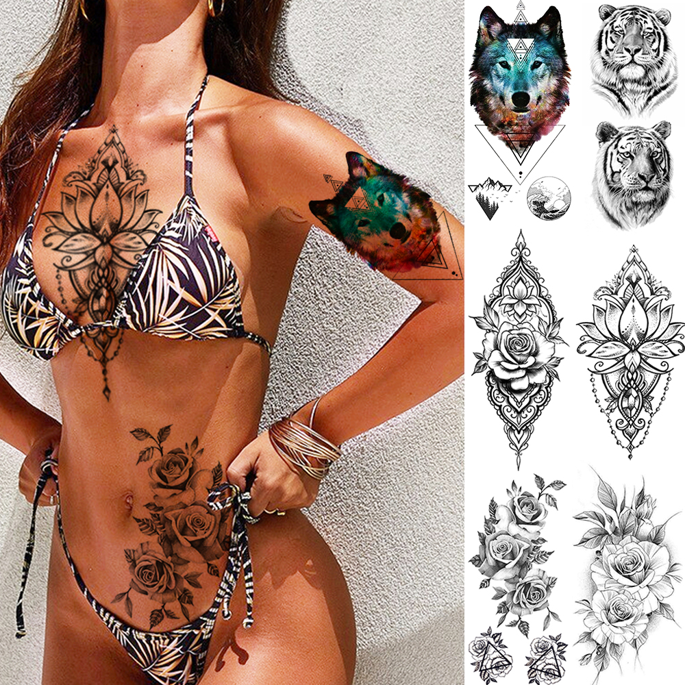 Fashion Sexy Pendants Red Flower Flash Tattoo Sticker Women Chest Bracelet Waterproof Tatoo Makeup Temporary Tattoo Under Breast