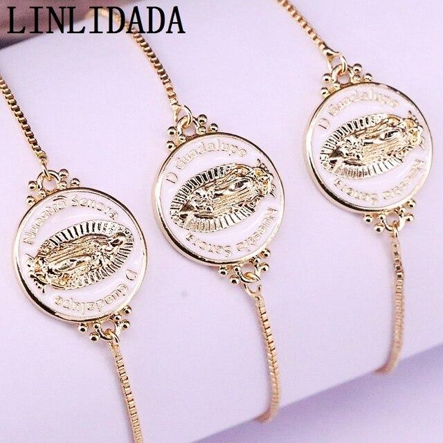 12Pcs White color Enamel Round Connector Bracelets Adjustable Golden Jewelry