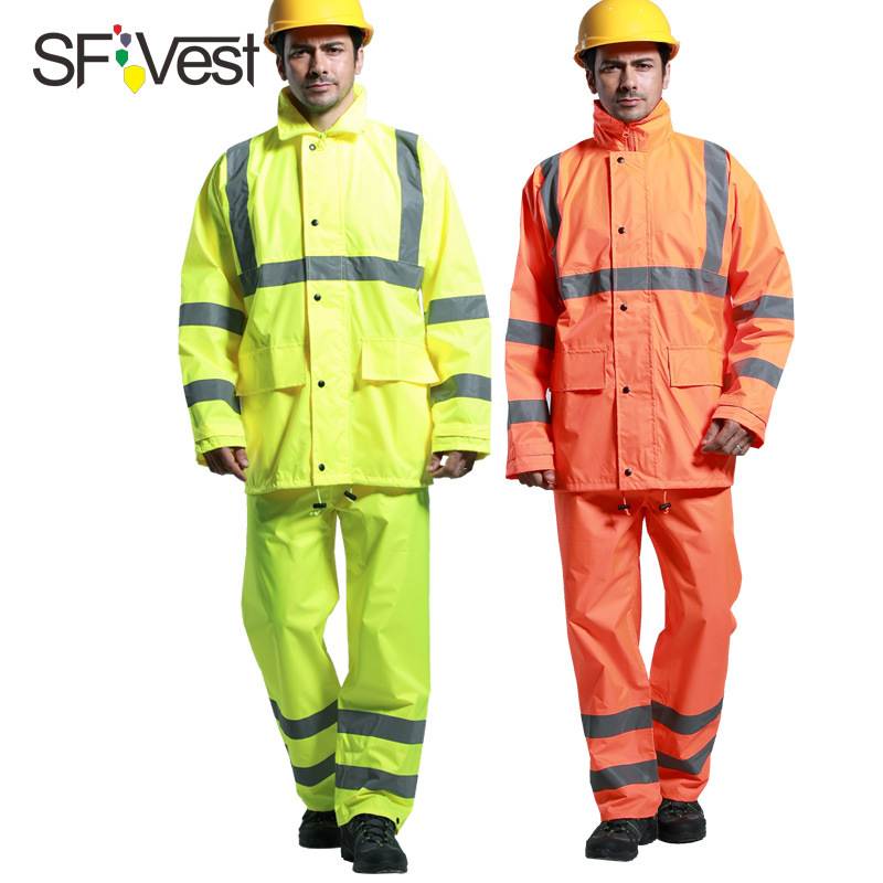 Sfvest Sanitation Fluorescein Light-reflecting Raincoat
