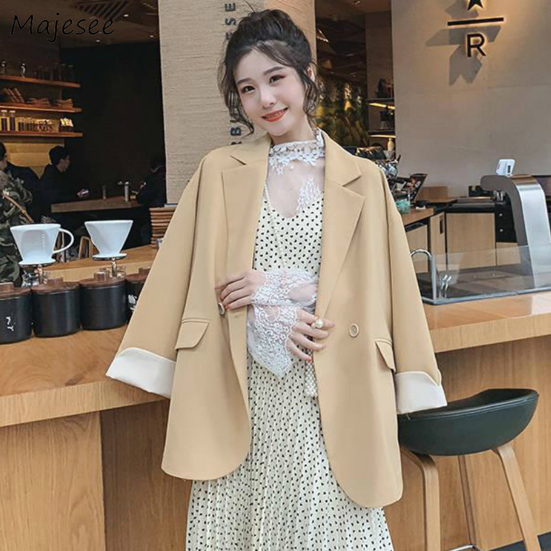 Blazers Women All-match Leisure Solid Simple Office Lady Korean Style Elegant Single Button Casual Trendy Loose Ulzzang Coats