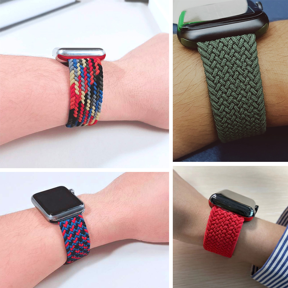 Braided Solo Loop For Apple watch band 44mm 40mm 38mm 42mm FABRIC Nylon Elastic belt bracelet iWatch series 3 4 5 se 6 strap 3