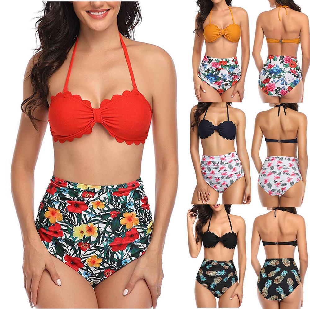 Women Two Piece Plus Size Swimsuits Halter Backless Swimwear Bathing Suit High Waisted Bikini