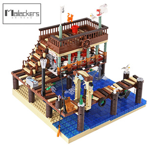 City Building Fish House Pier Bricks Creator Expert Street View Old Fishing Store Modular Building Blocks Architecture Toys Gift
