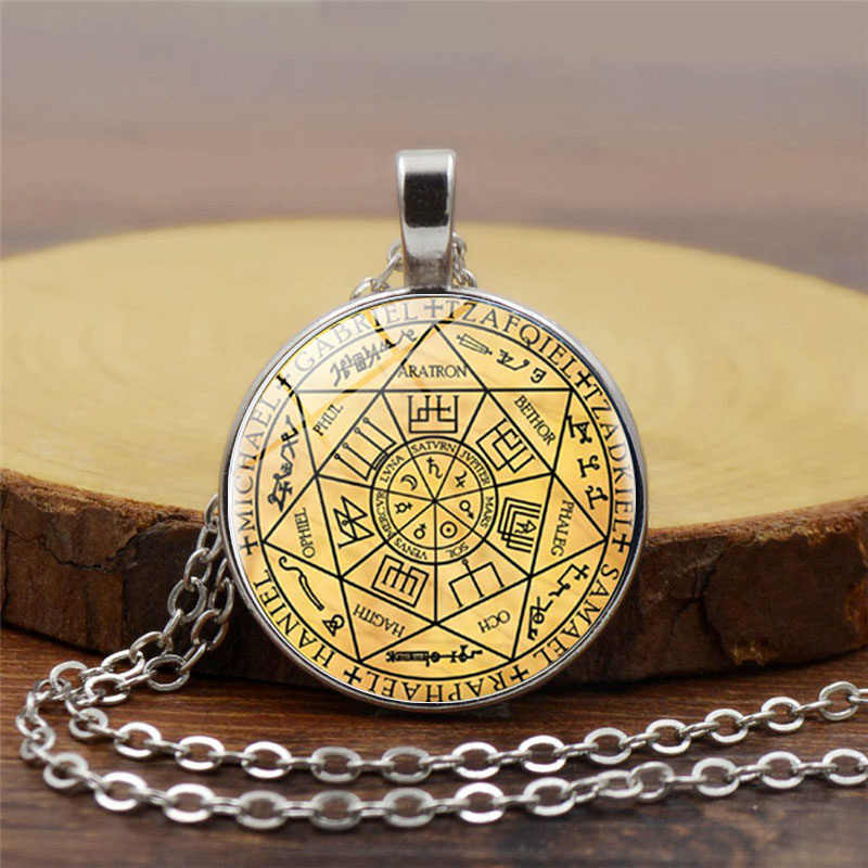 Seals Of The Seven Archangels Pendant Choker Statement Silver Necklace For Women Dress Accessories Glass Photo Jewerly gift