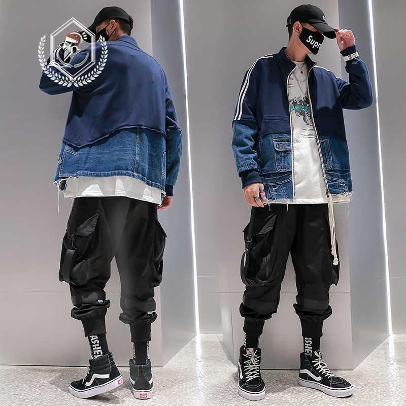 남성 패션 느슨한 솔리드 사파리 스타일 자켓 캐주얼 비대칭 패치 워크 힙합 코트