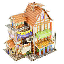 Attractive Cartoon Castle Garden Zoo Princess House 3D DIY Puzzle Castle Model Cartoon House Assembling Paper Toy Kid 9.16