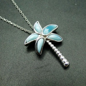 Image 4 - High Quality 100% 925 Sterling Silver Larimar Coconut tree pendant Necklace Party Jewelry for Women