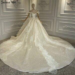 Image 2 - Szampana rocznika brokat luksusowe suknie ślubne 2020 Off ramię perły suknia ślubna spokojny Hill HA2315 Custom Made