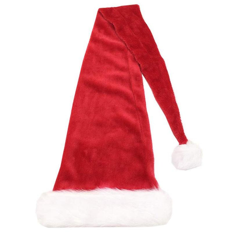 5 Feet Long Christmas Santa Hat,Overlength Plush Christmas Santa Claus Xmas Long-Tail Cap Hat