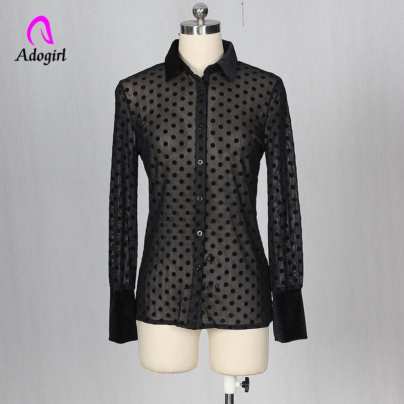Adogirl Black Polka Dot Mesh Womens Tops and Blouses Vintage Shirt Sexy Perspective Night Club Party Blusas Mujer De Moda 2019 in Blouses amp Shirts from Women 39 s Clothing
