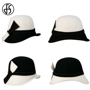 Image 5 - FS Wide Brim White Wool Hats Bow Bowler Fedora Hat For Women Chapeau Femme Feutre Winter Cloche Ladies Church Felt Fedoras Caps