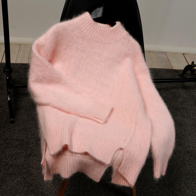 Mohair Sweater Women Autumn Winter New Pink Loose Pullover Womens Knitted Sweaters Pull Femme Gray Half Turtleneck Sweater C5848