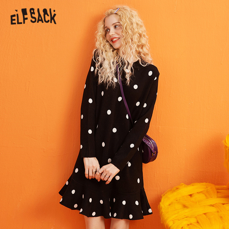 ELFSACK Multicolor Solid Polka Dot Casual Dress Women 2019 Winter Korean Style Flounce Long Sleeve Office Ladies Basics Dresses
