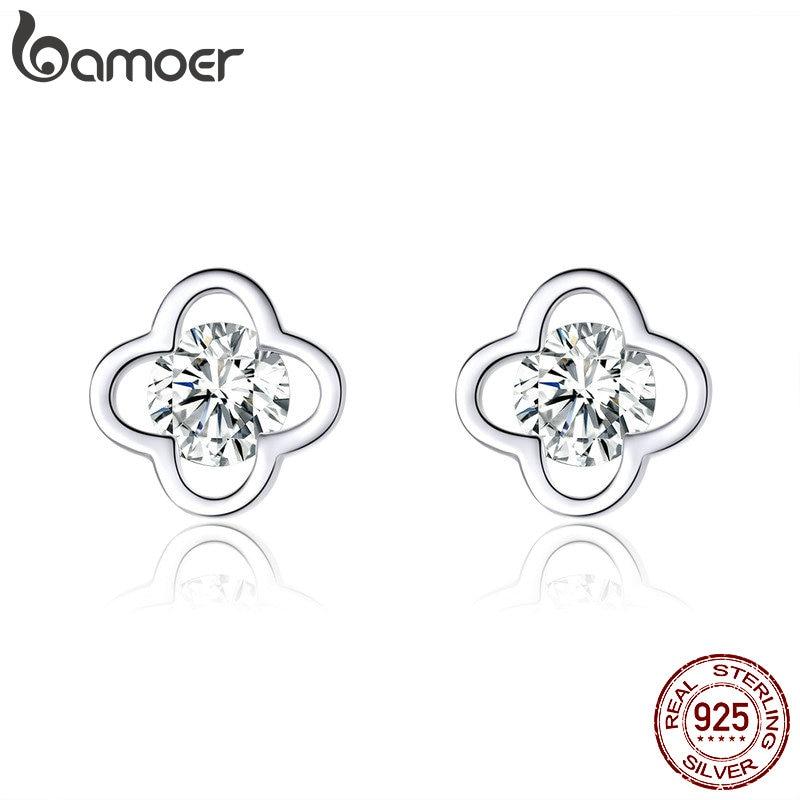 Bamoer Shiny Sakura Flower Stud Earrings For Women Bright Clear CZ 925 Sterling Silver Statement Wedding Fine Jewelry BSE189
