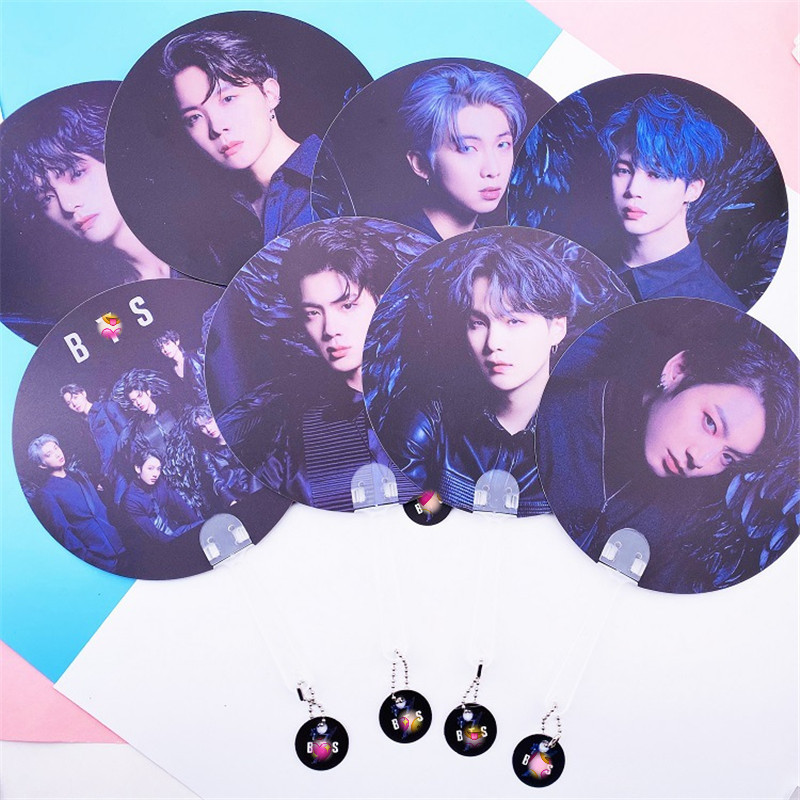 10 Pcs/lot KPOP Boys Round Fan MAP OF THE SOUL 7 JIN JIMIN J-HOPE JUNGKOOK RM V SUGA Double-sided Printing Portable Hand Fan