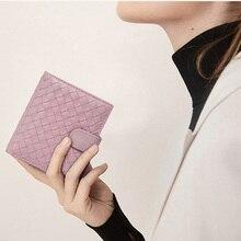 Women Woven Coin Purse Female Sheepskin Genuine Leather Zipper Two-fold Wallet Fashionable Multicolor Purse Ladies Small Wallet