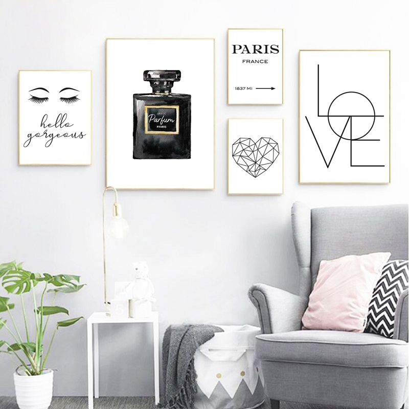 Black white fashion prints living room decor