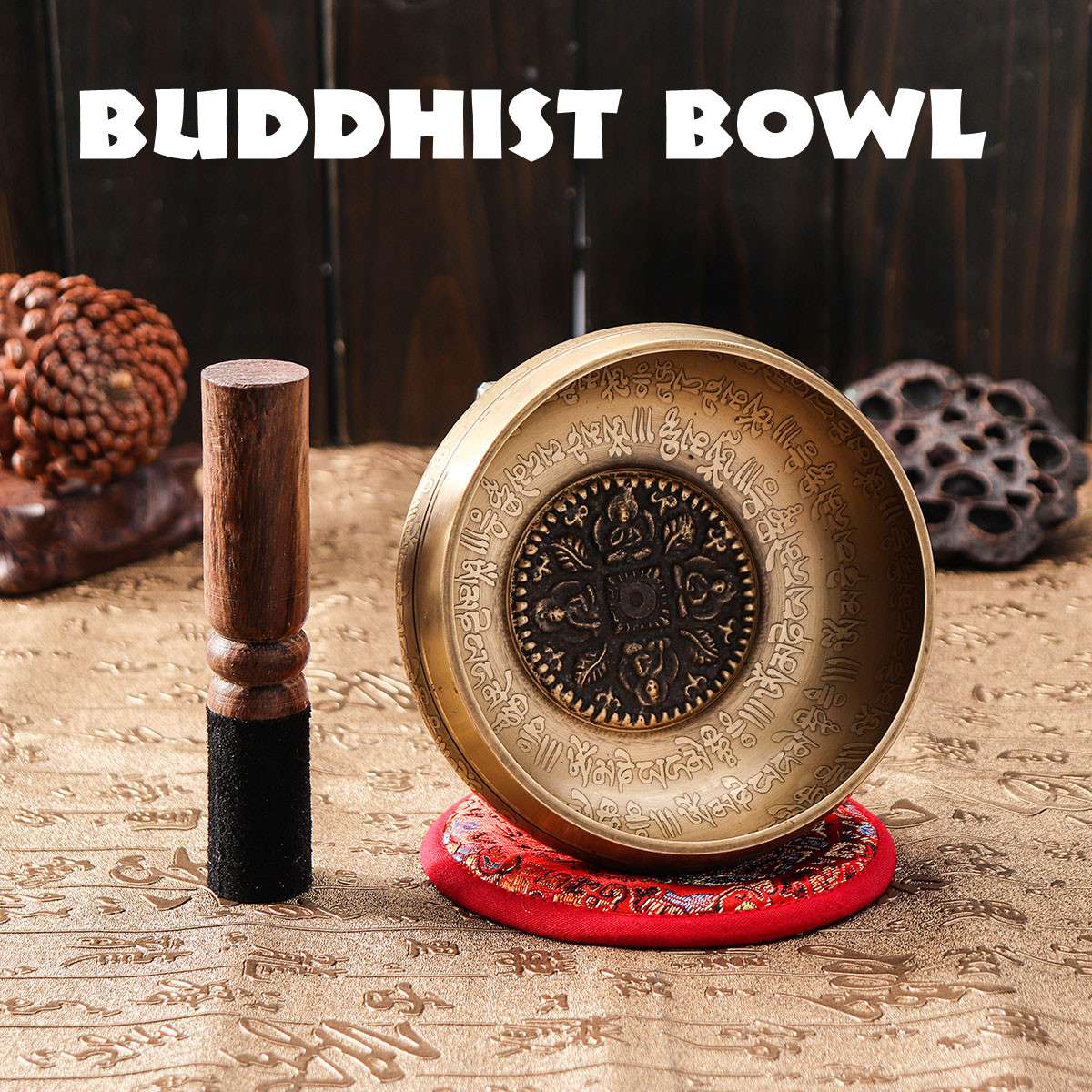 Tibetan Meditation Singing Bowl Nepalese Buddhist Chanting Bowl Buddhist Sound Therapy Bowl Mallet Mat Copper Handmade Carft