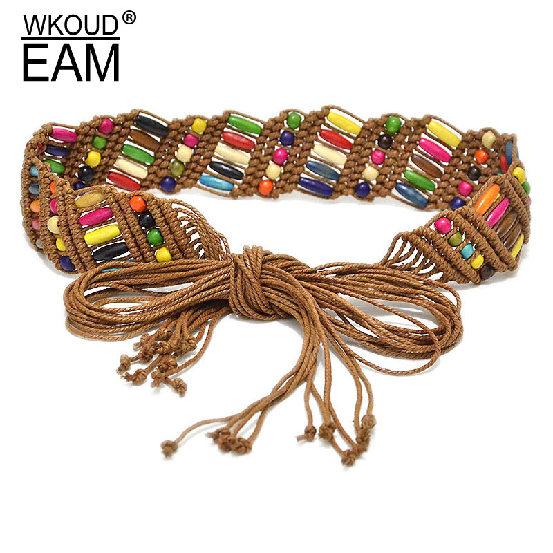 WKOUD EAM 2020 New Vintage Multicolor Wax Rope Weave Belt Women Fashion Folk-custom Wooden Beads Waistband Lady PE189