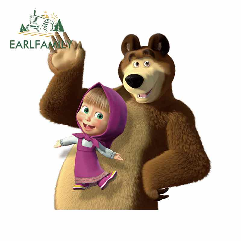 EARLFAMILY 13cm X 12.8cm For Masha And Bear JDM ATV High Quality Car Stickers Waterproof The Whole Body Vinyl Decal Gift