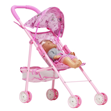 цена на 50*38CM Cart Simulated Doll 12 Inch Toy Cart Baby Home Toy Baby Cart with Awning Iron Rod Cart Pushcart Toy Girl's Gift Kid Toys