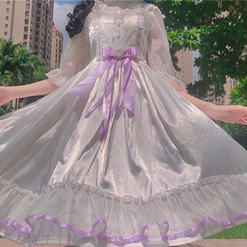 Sweet Lolita dress Bow Strap Skirt Midi Dress Summer lolita princess dress  white lolita dress   renaissance  victorian dress