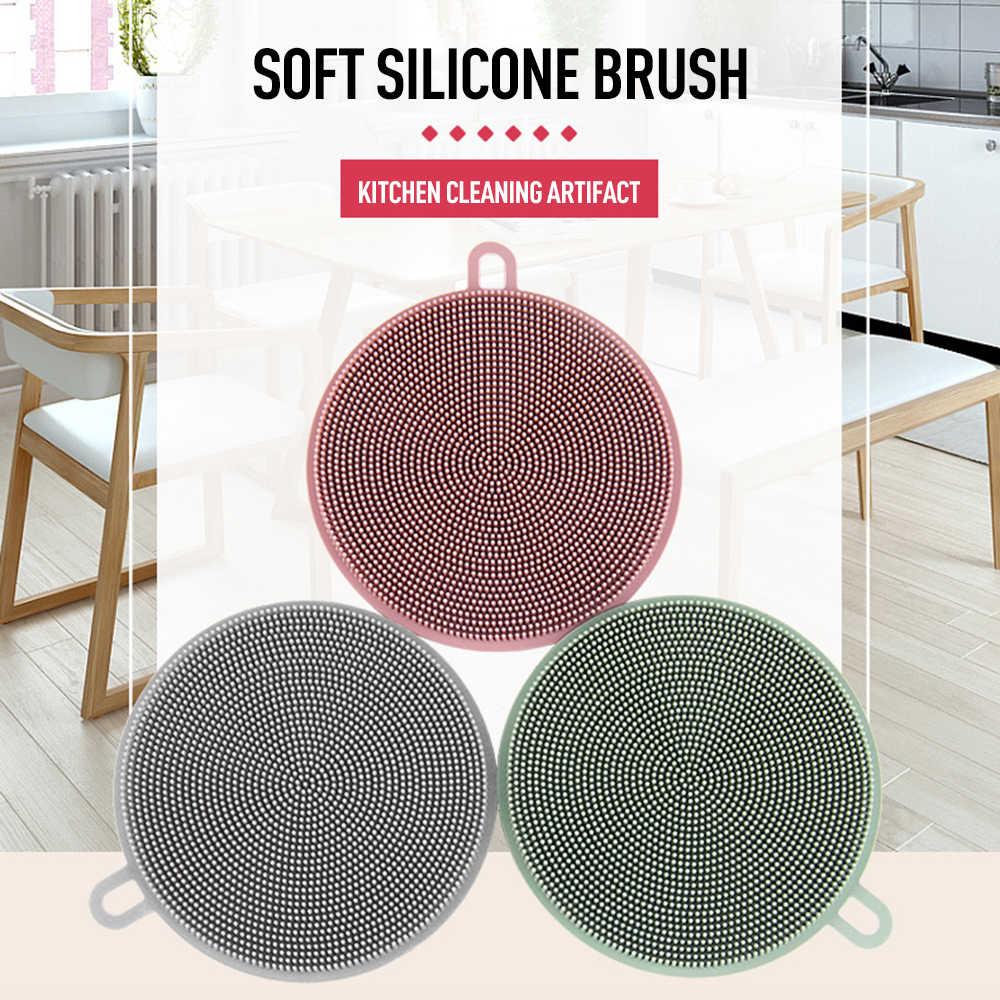 Acessórios de cozinha Multi-função Antibacteriana Silicone Prato Scrubber Escova escova de Limpeza Escova de Lavar Louça Silicone