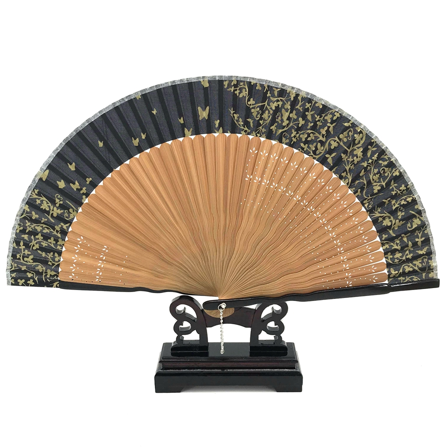 Free Shipping 1pcs   Peach Blossom Flower Printing Bamboo Hand Fans Wedding Bridal Party Fan Decoracion Fiestas