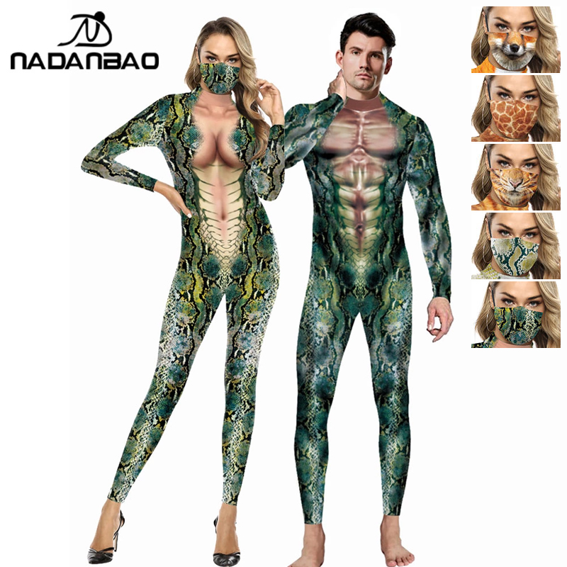 NADANBAO 2021 Cosplay Bodysuit Women Sexy Snake Costume Long Sleeve Fashion Suit Female Classical Jumpsuits Elastic