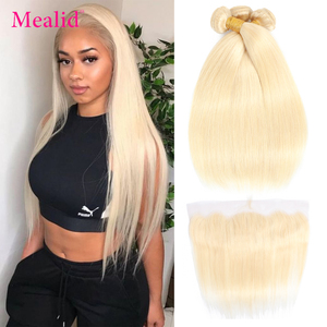 Mealid 613 Blonde Straight Hair 3 Bundles With Frontal Closure Colored Remy Human Hair Bundles With Frontal Malaysian Hair(China)