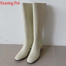 Krazing pot/сапоги из яловичного спилка; Кожаные туфли лодочки