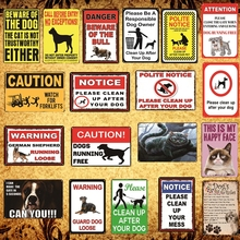 [Luckyaboy] Cat Dog Rules Warning Notice vintage Tin Signs Wall Metal Painting Antique Gift home bar Pub Decor AL017