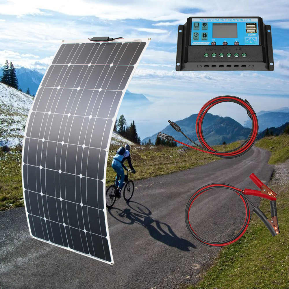 RG Solar Batterie Flexible Solar Panel 100W 12V 24v solar Controller + 10A Solar System Kits comple für Fischerboot Kabine Camping