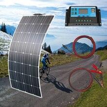 גמיש פנל סולארי 100w פנל סולארי 12V ערכת מלא שמש בקר 10A שמש מערכת ערכות עבור דיג סירה קמפינג תא