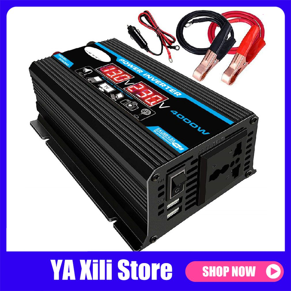 4000W <font><b>12V</b></font> <font><b>to</b></font> <font><b>220V</b></font>/110V LED <font><b>Car</b></font> Power Inverter Converter Charger <font><b>Adapter</b></font> Dual USB Voltage Transformer Modified Sine Wave image