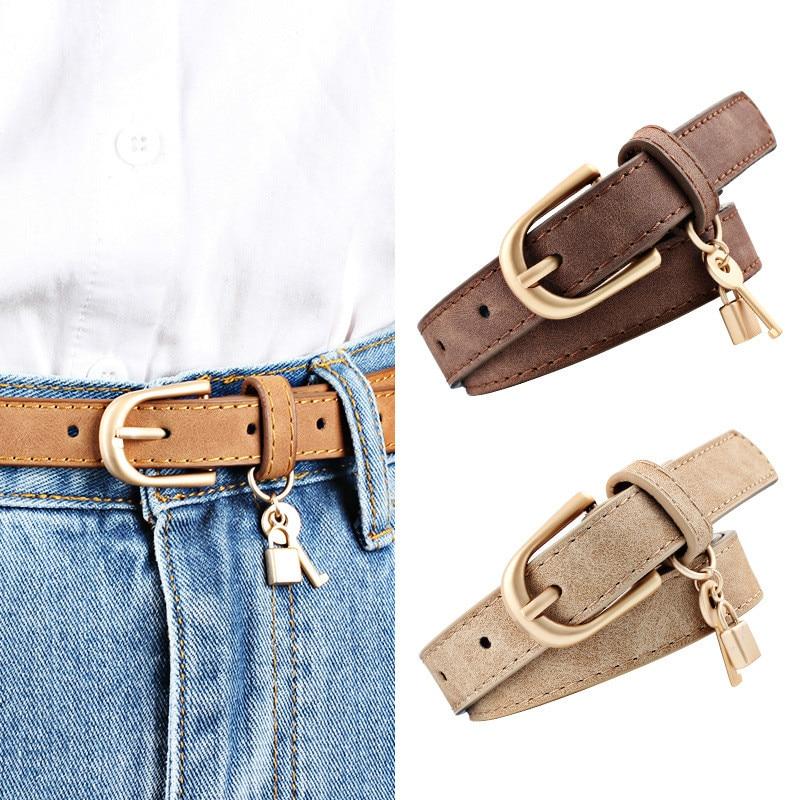 2019 Women Pu Leather Thin   Belt   Luxury Gold Pin Buckle Waist   Belts   Lock Key Decoration Strap For Jeans Lady Fashion Waistband