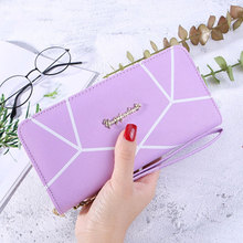 New ladies long wallet Europe and America simple geometric pattern zipper multi-function fashion luxury designer clutch