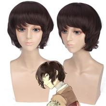 цена на Anime Bungo Stray Dogs Wig Dazai Osamu Cosplay Wigs Short Brown Curly Synthesis Hair Halloween Costume Wig Perucas