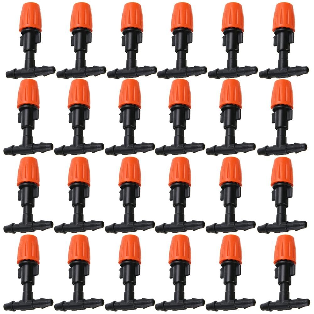 20PCS 1/4 Inches Nozzle Dripper Watering Sprayer Misting Atomizing Sprinkler Garden Drip Irrigation System W/ Hose Tee Connector