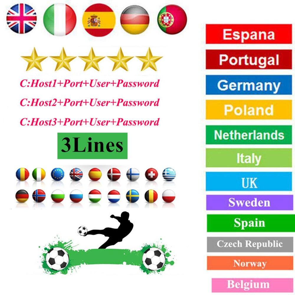 Лучший стабильный CCcams Европа 1 год 3 линии cccam Испания Франция Италия Для receptor de satelite спутниковый ТВ приемник 3 клины Европа
