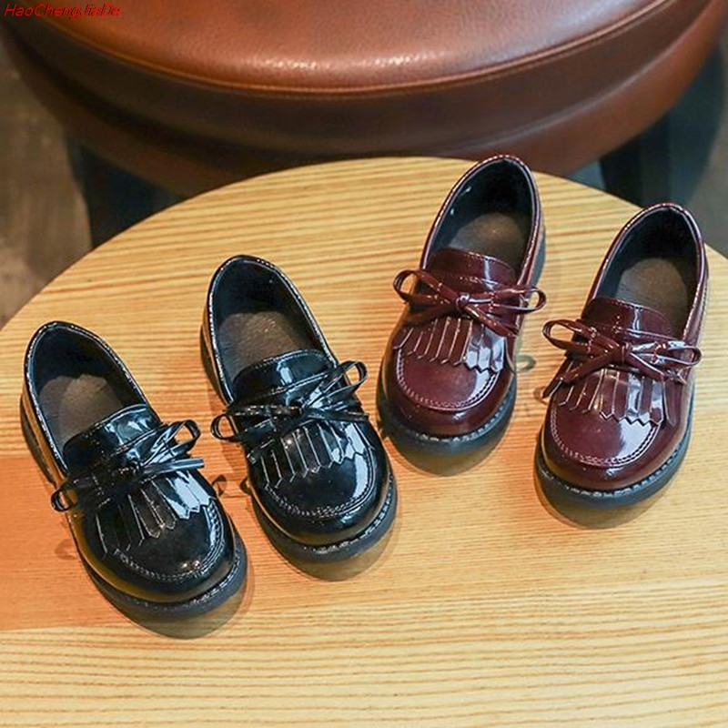 New Kids Leather Wedding Dress Shoes For Girls Brand Children Black Wedding Shoes Boys Formal Wedge Sneakers Flat