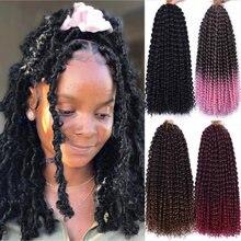 Extension capillaire synthétique ondulée 18 pouces, coiffure Afro crépue, Crochet ombré, mèches papillon, Passion
