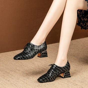 MLJUESE 2020 women pumps sheepskin autumn spring black color square toe checkered lace up high heels party dress size 34-42