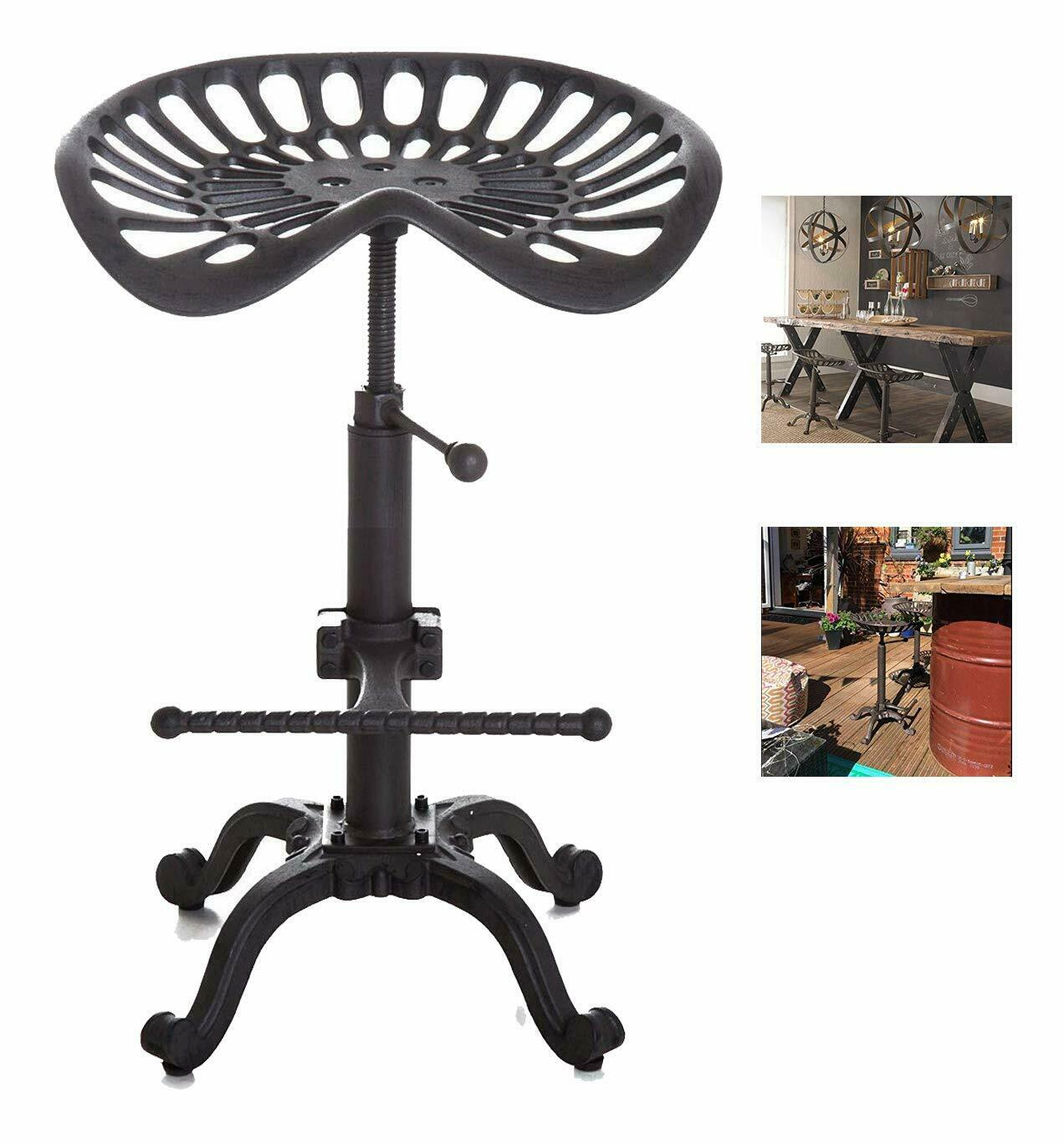 Industrial Metal Farmhouse Tractor Bar Stool Height Adjustable Counter Chair With Swivel Seat Scrolled Footrest (USA Stock)