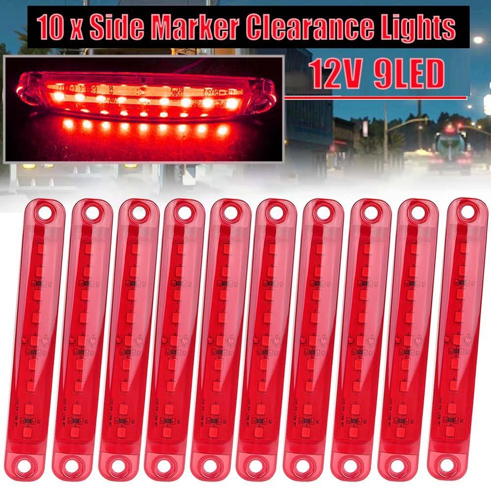 10pcs Red 9-LED Lorries Trailer Truck 12 V LED Lights Side Marker Light Waterproof LED Light Tail Indicator Parking Lights