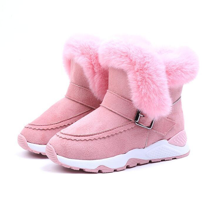 Girls Martin Boots Pink Children's Rubber Boots Baby Plus Velvet Short Boots Girls Warm Snow Boots